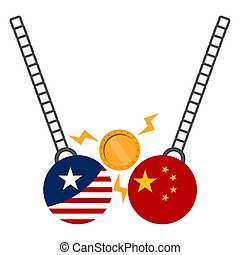 Wrecking ball with a flags