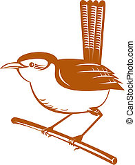 Illustration of a wren bird isolated on a white background