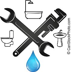 Wrench and a drop of water plumbing repair - Wrench and blue...