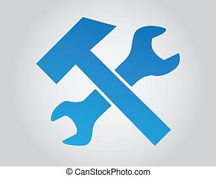 Wrench and Hammer - Wrench and hammer vector illustration on...