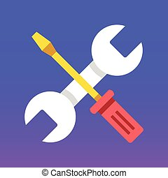 Wrench and screwdriver icon. Fix, maintenance, repair concepts. Modern flat design graphic elements. Flat icon. Vector illustration