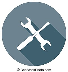 Wrench and screwdriver icon for web design. Setting icon....