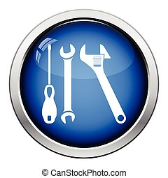 Wrench and screwdriver icon. Glossy button design. Vector...