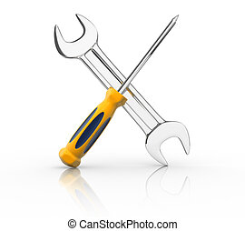 Wrench and screwdriver. This is a 3d render illustration