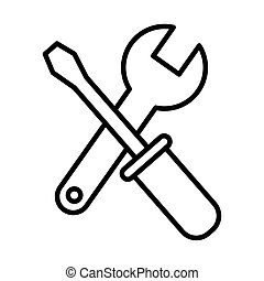 wrench and screwdriver tool line style icon