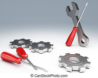 Tools 3d - Wrench and screwdriver Tools 3d illustration