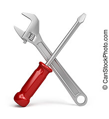 Tools - wrench and screwdriver. 3d image. Isolated white background.