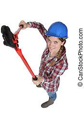wrench., arbeiter, handbuch, weibliche