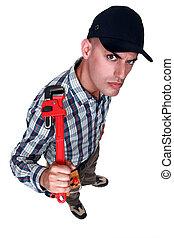 wrench., arrabbiato, uomo