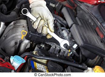 wrench., auto, mechanic., ręka