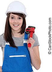 wrench., encanador, femininas, segurando