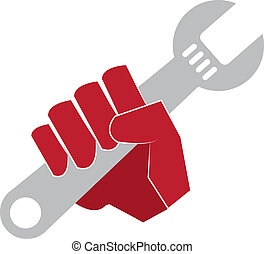 Wrench Hand  - Red hand holding a wrench