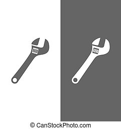 Wrench icon on black and white background
