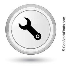 Wrench icon prime white round button