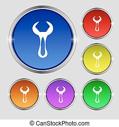 wrench icon sign. Round symbol on bright colourful buttons. Vector
