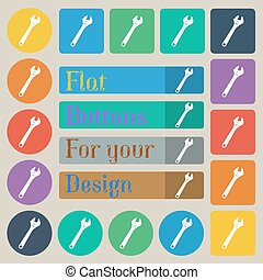 wrench icon sign. Set of twenty colored flat, round, square and rectangular buttons. Vector