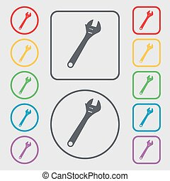 wrench icon sign. symbol on the Round and square buttons with frame. Vector
