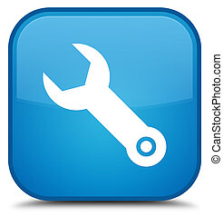 Wrench icon special cyan blue square button