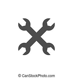 Wrench icon. Vector illustration, flat design. On white background.