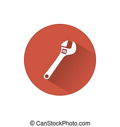 Wrench icon with shade on a circle