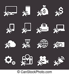 wrench icons set