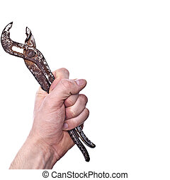 Wrench in a mans hand - completely isolated on white background