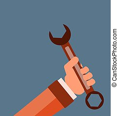 Wrench key in hand sign icon