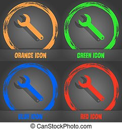 Wrench key sign icon. Service tool symbol. Fashionable modern style. In the orange, green, blue, red design. Vector