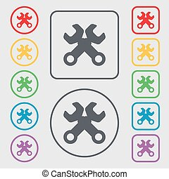 Wrench key sign icon. Service tool symbol. Symbols on the Round and square buttons with frame. Vector