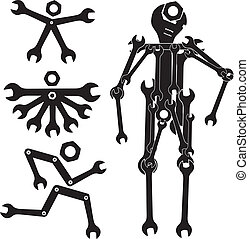 Toolroom illustrations and clipart youll love 8 toolroom royalty wrench man monkey wrench ring wrench do it yourself solutioingenieria Image collections