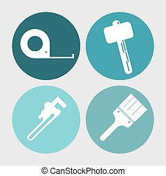 wrench meter hammer paint brush tool icon. Vector graphic - ...