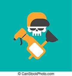 wrench., plombier, crâne, service, emblem., caoutchouc, logo, plongeur, cleaning.
