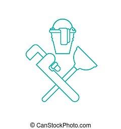 wrench., plombier, réglable, lavage, service, seau, emblem., caoutchouc, logo, plongeur, cleaning.