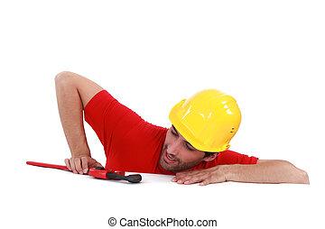 wrench., regarder, construction, sien, ouvrier