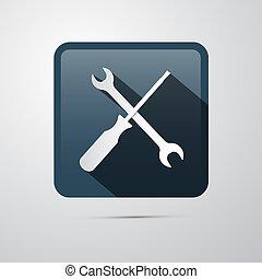 wrench., reparación, icon., destornillador, llave inglesa