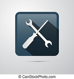 wrench., reparera, icon., skruvmejsel, skruvnyckel