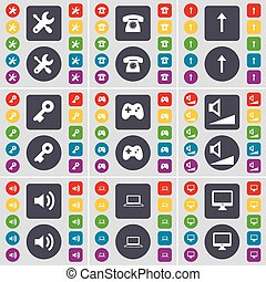 Wrench, Retro phone, Arrow up, Key, Gamepad, Volume, Sound, Laptop, Monitor icon symbol. A large set of flat, colored buttons for your design. Vector