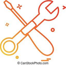 wrench screwdriver icon vector design