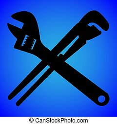 wrench silhouette isolated on blue background vector illustration