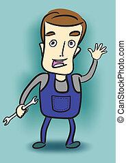 wrench., szerelő, birtok, karikatúra