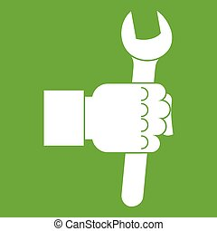 Wrench tool in man hand icon green
