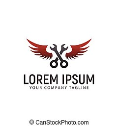 wrench wings logo. auto design concept template