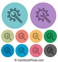 Wrench with cogwheel color darker flat icons