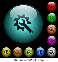 Wrench with cogwheel icons in color illuminated glass buttons