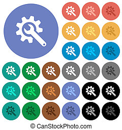 Wrench with cogwheel round flat multi colored icons