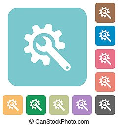 Wrench with cogwheel rounded square flat icons