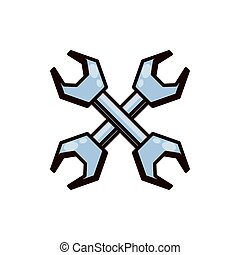 wrenches tool crossed isolated icon