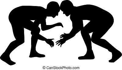 Wrestler fighting