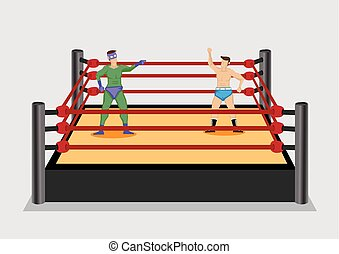Wrestler in Wrestling Ring Vector Cartoon Illustration - Two...