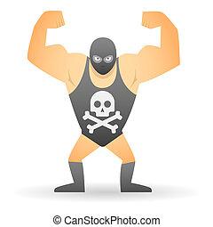Wrestler with a skull